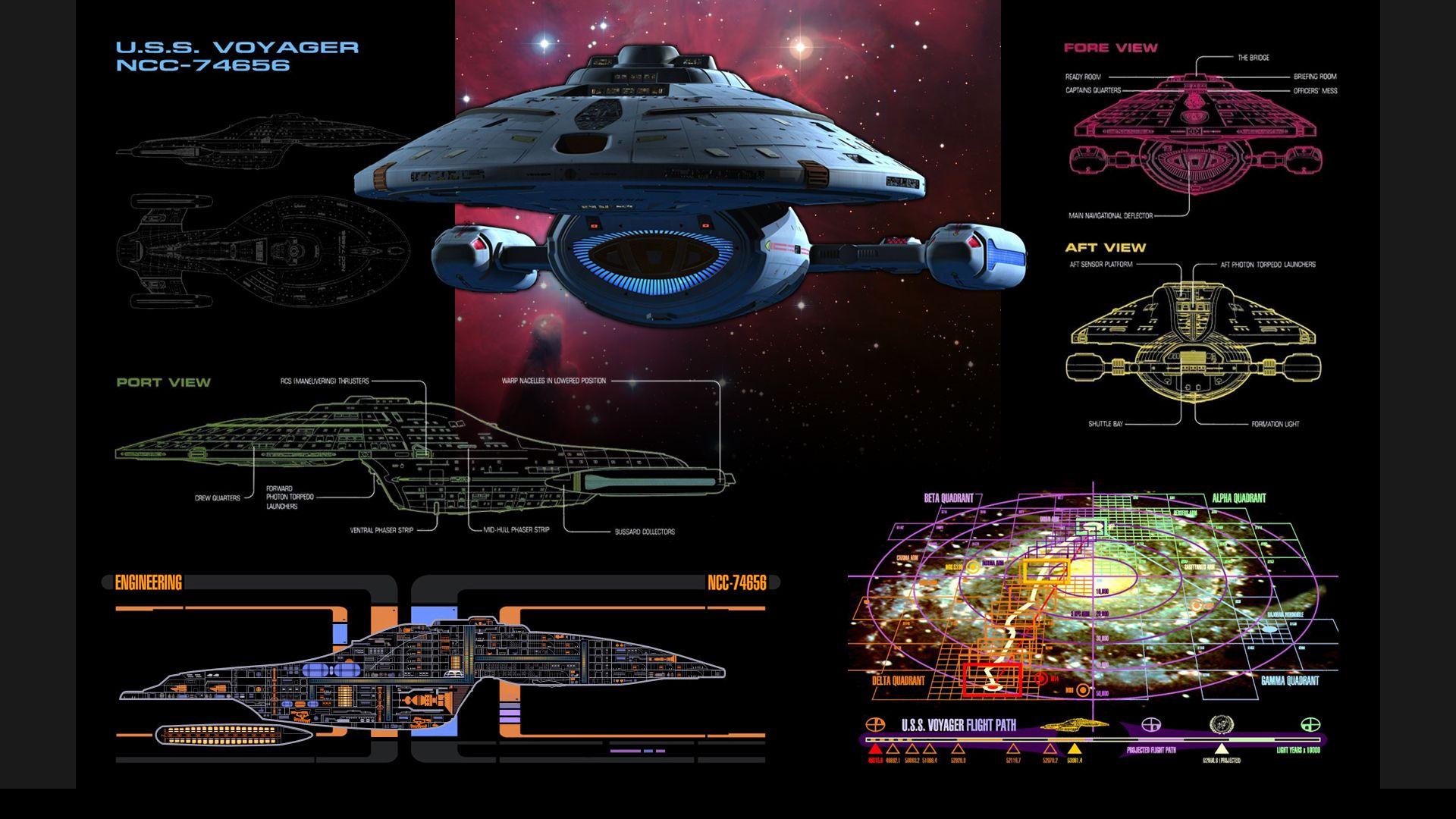 Star Trek Voyager schematics wallpaper with side panels for desktop icons.  | Fandom star trek, Star trek ships, Star trek voyager | Voyager Schematics |  | Pinterest