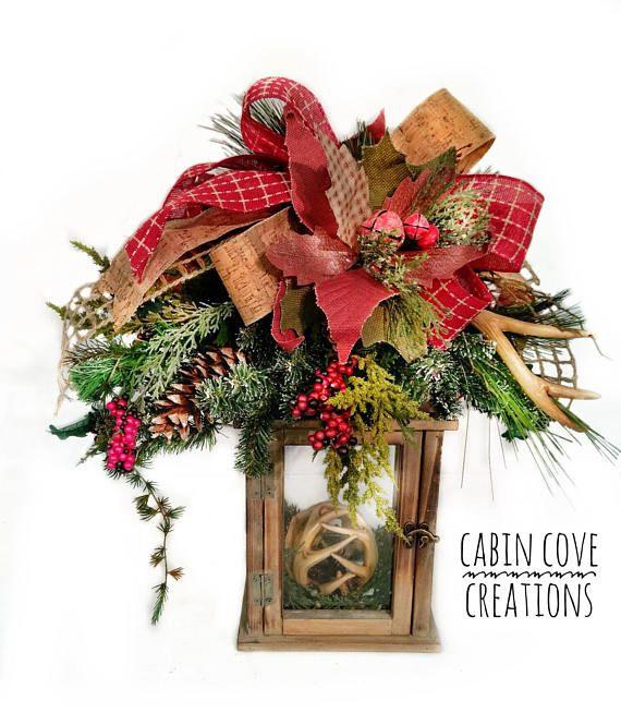 Christmas Lantern Swag Floral Arrangement Holiday Winter Centerpiece