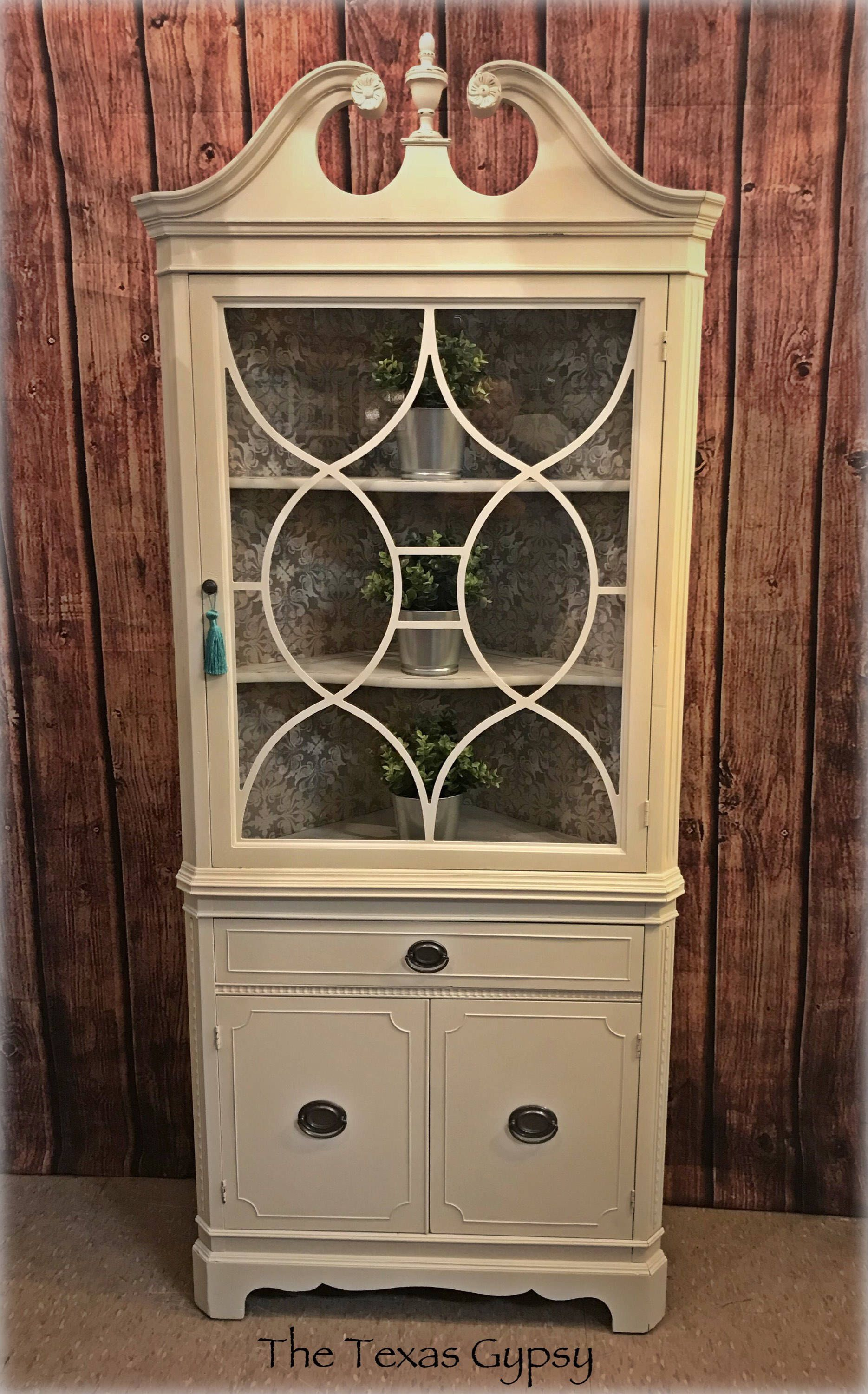 farmhouse antique white duncan phyfe china cabinet corner hutch in rh pinterest com
