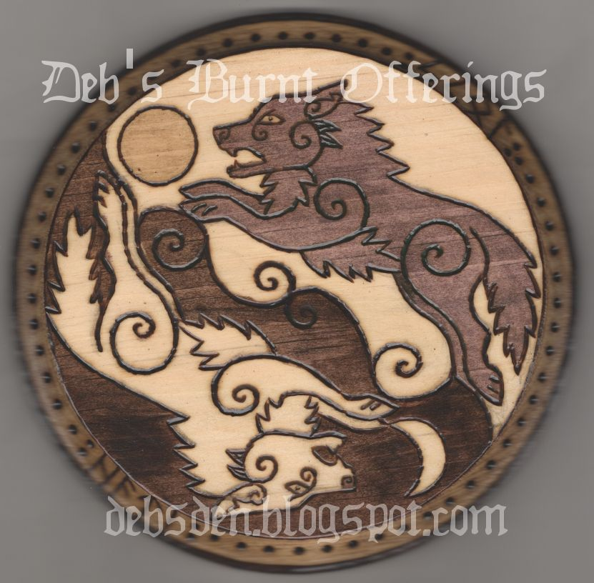 vikingpyrography hati and skoll wolves wood plaque
