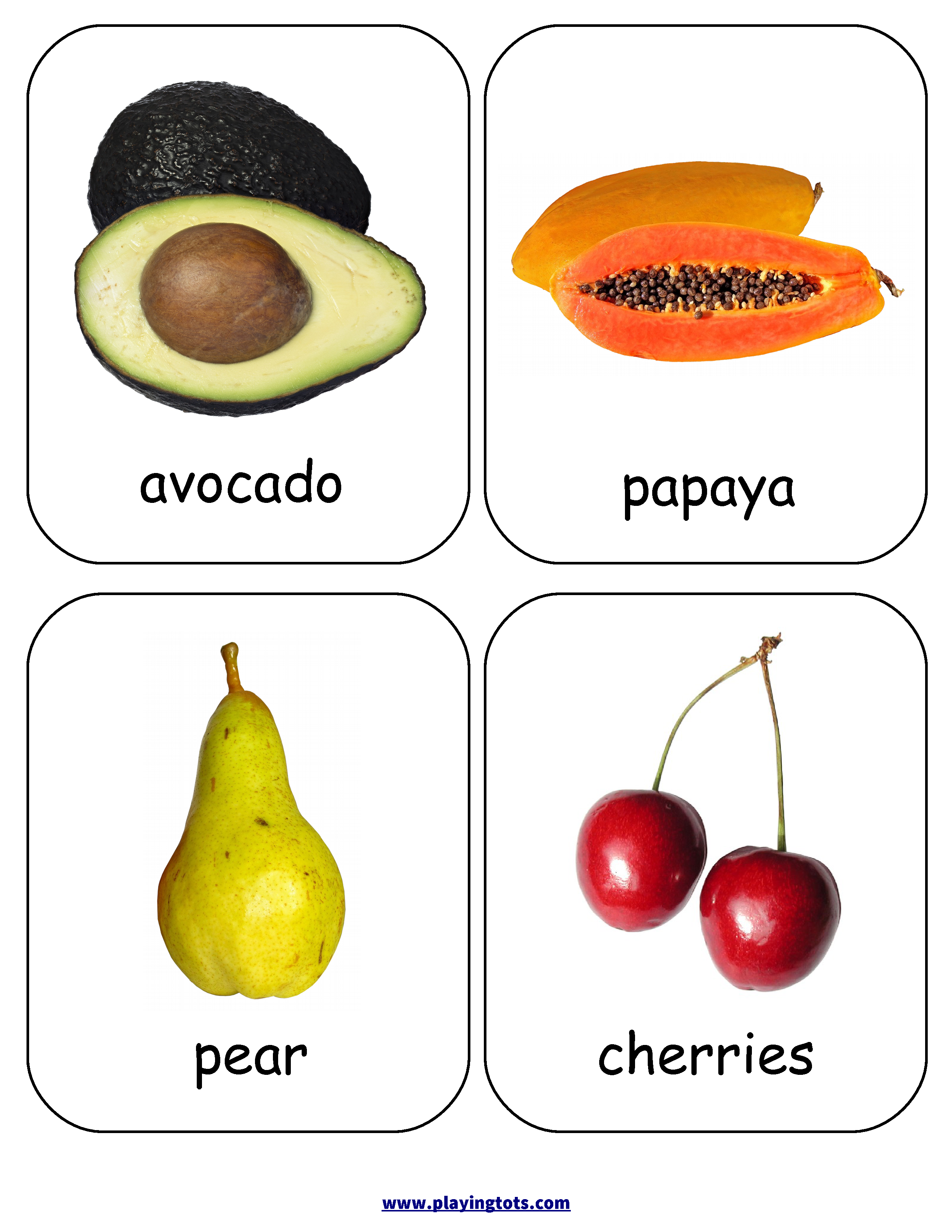 Fruits Flash Cards Keywords Free Printable Learn Play