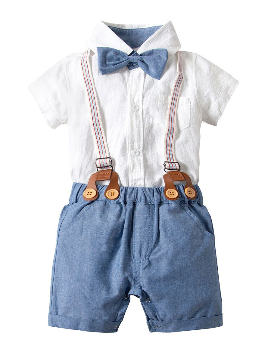 Pink, 3T-4T Toddler Kids Boys Gentlemen Suit Stripe Long Sleeve Bow Tie Shirt Suspender Pants Outfits Set