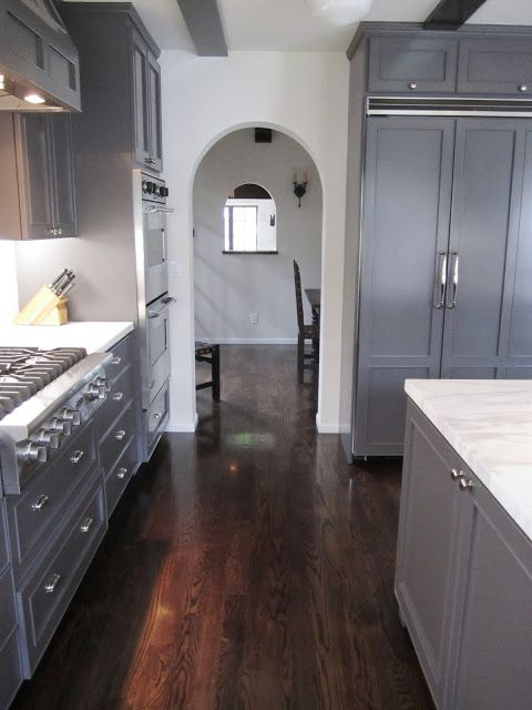 gray cabinets with white countertops dark floors would do a rh pinterest com