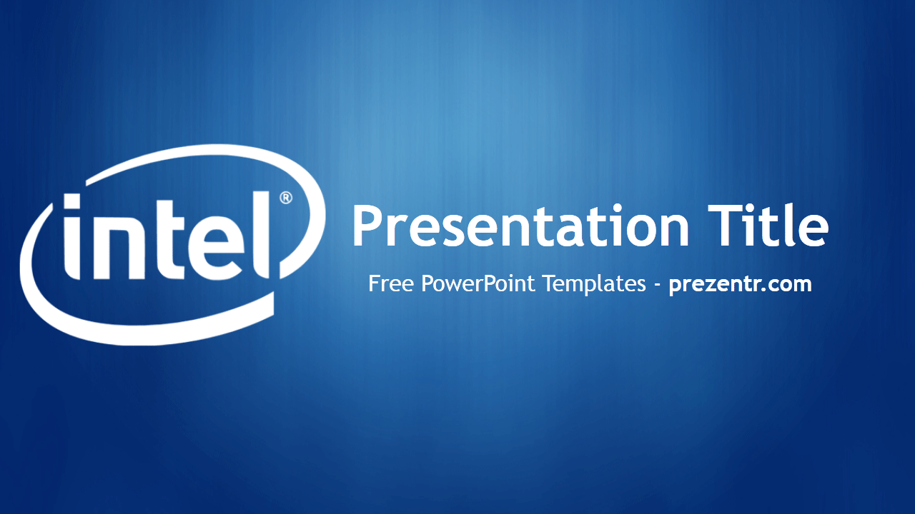 The Free Intel Powerpoint Template Has A Blue Background With An