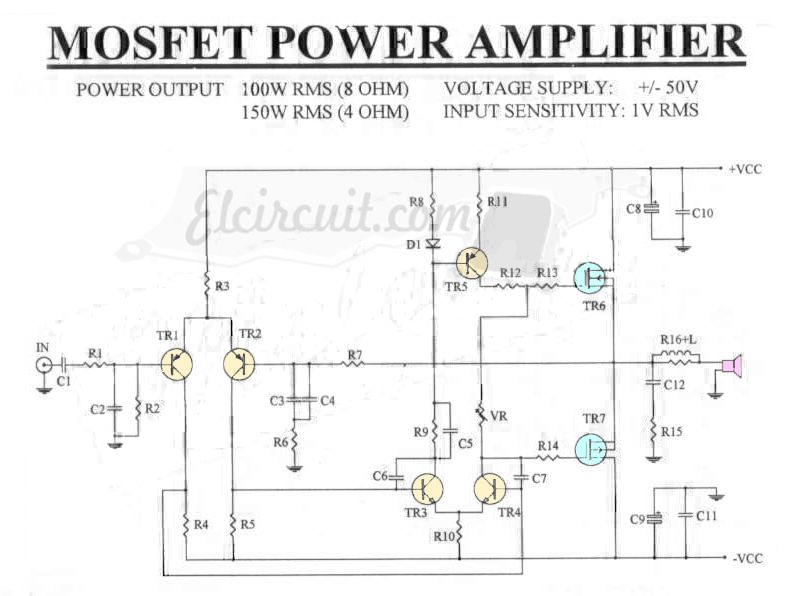 mosfet power amplifier 100w rms 8 ohm in 2019 circuito1 rh pinterest com