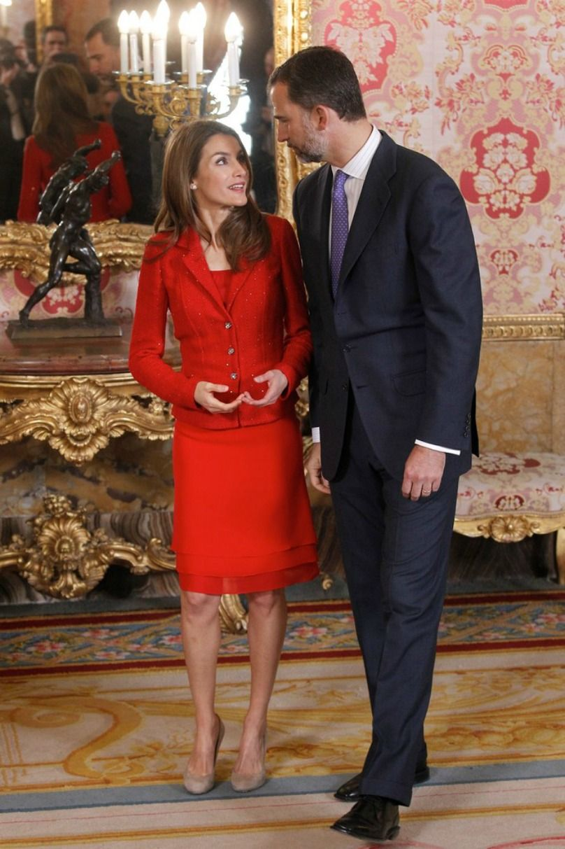 "Crown Prince Felipe  and  Crown Princess Letizia  attended  a lunch for the ""2013 Cervantes Award"" at the Royal Palace  in Madrid, Spain"