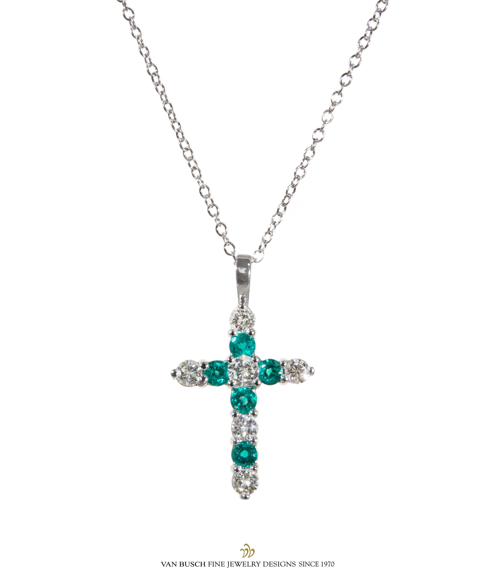 Emerald and diamond cross necklace in u christmas