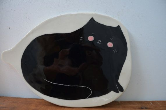 Ceramic Cat Cheese plate - GailCCceramics