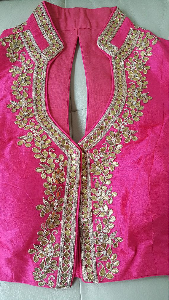 ee915f8fbaf7e9 Hand embroidered Gota patti Raw Silk Blouse~FREE SHIPPING in 2019 ...