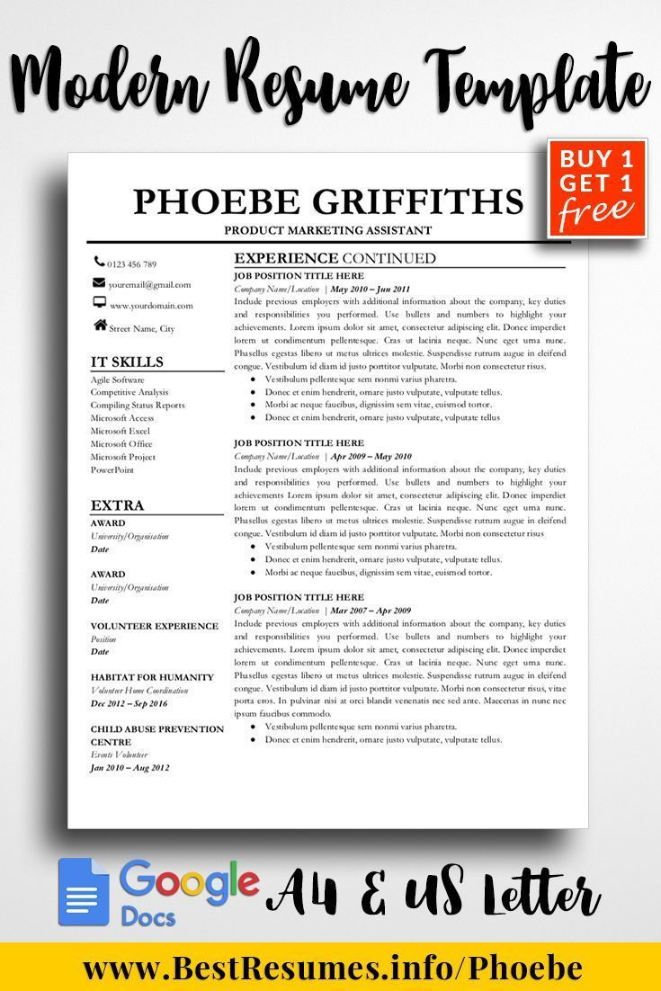 Modern Resume Template is a professional resume template