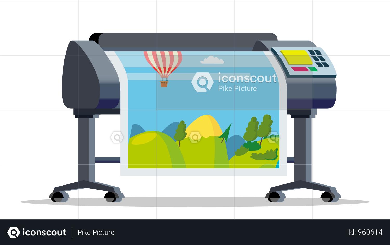 Premium Plotter Printer Vector Illustration In PNG