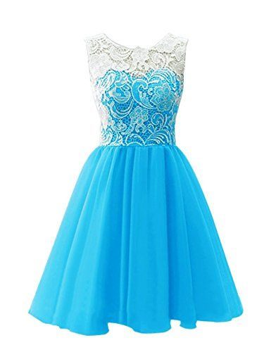 e3038e54a20 MicBridal Flower Girl   Adult Ball Gown Lace Short Prom Dress Blue US6