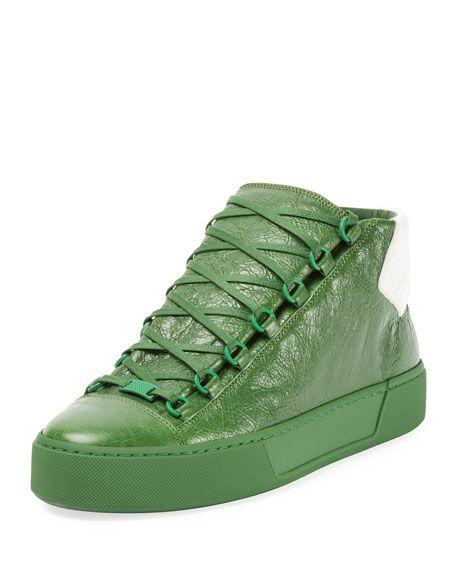 Balenciaga shoes · BALENCIAGA Men'S Arena Leather Mid-Top Sneaker,  Green/White. #balenciaga #