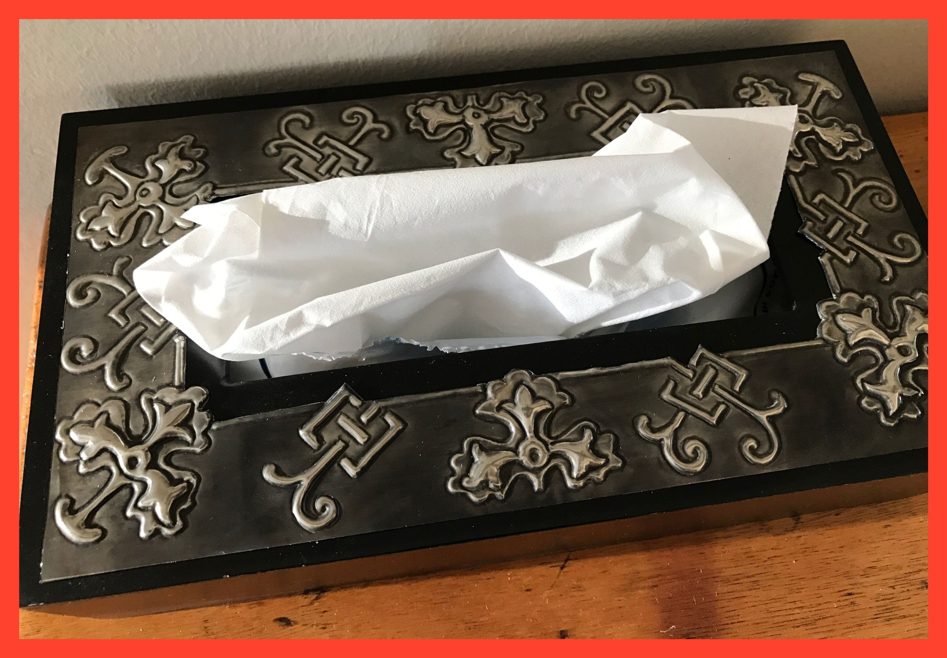Embossed Pewter tissue box cover made my Lee @ The Pewter Room