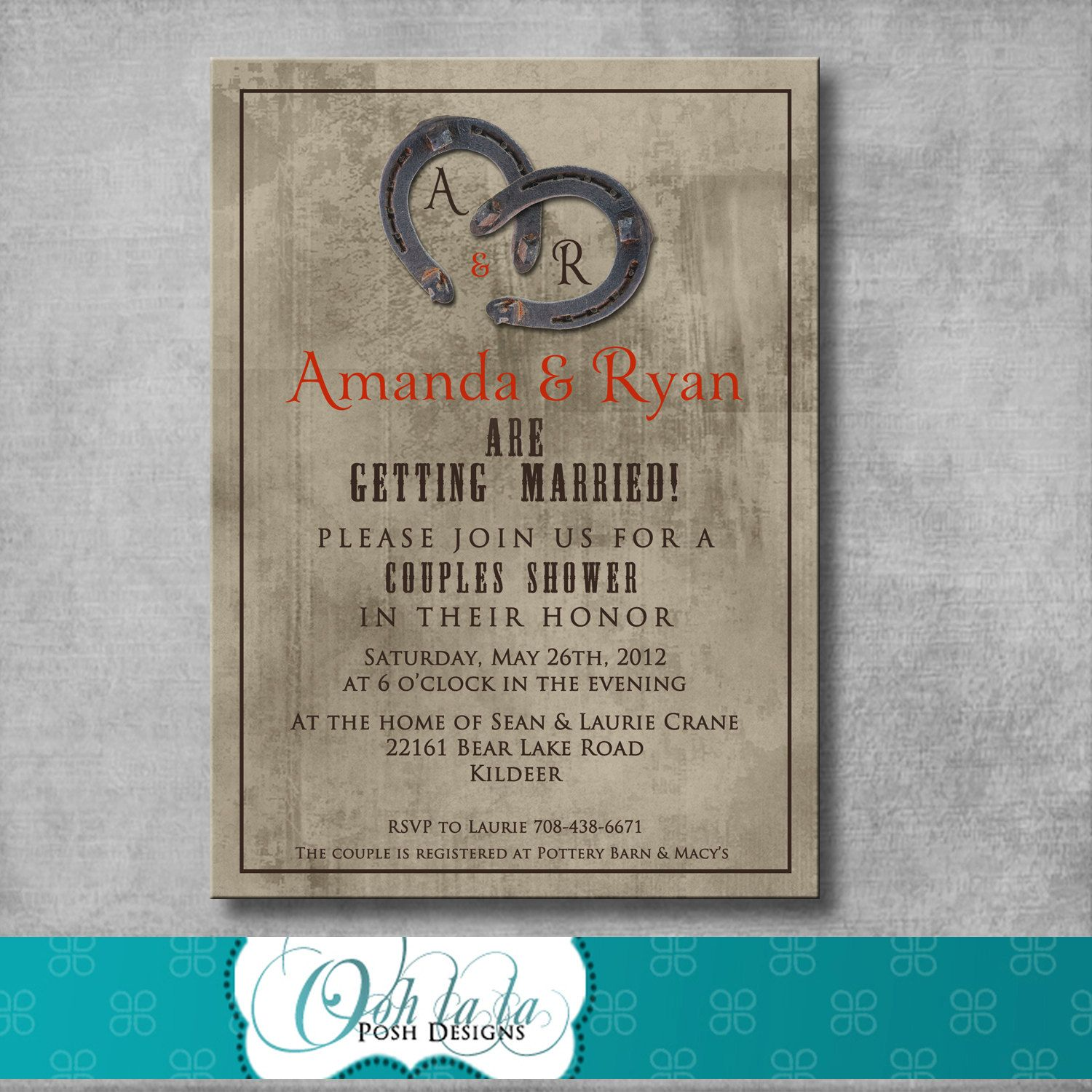 wedding party invitation message%0A Rustic Charm Couples Shower Invitation DIY by OohlalaPoshDesigns