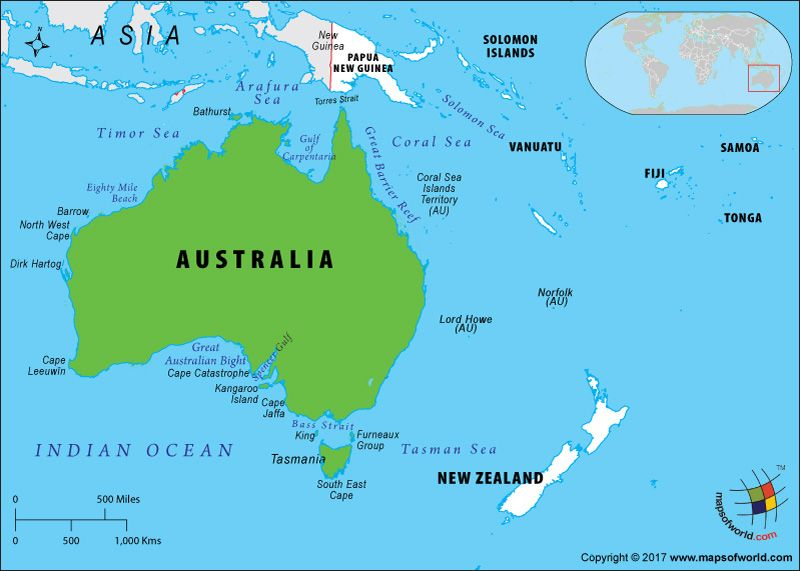 Oceania Map highlighting Australia Australia Pinterest