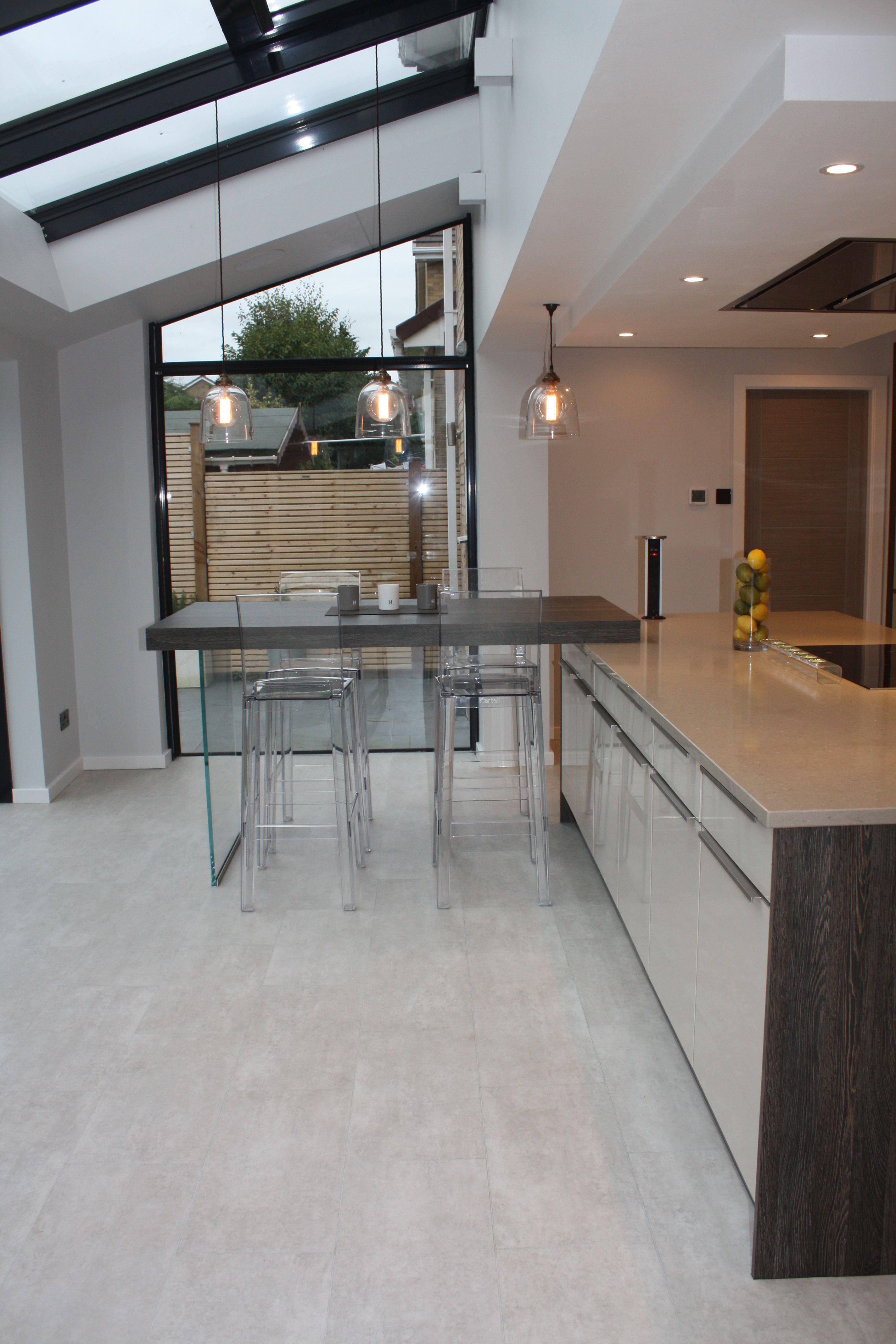 gloss cashmere kitchen dark wood laminate breakfast bar with glass rh pinterest com