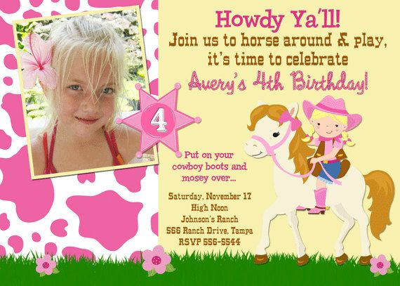 Cowgirl Birthday Invitation Cowgirl Party Invite Girls Western – Cowgirl Themed Birthday Invitations