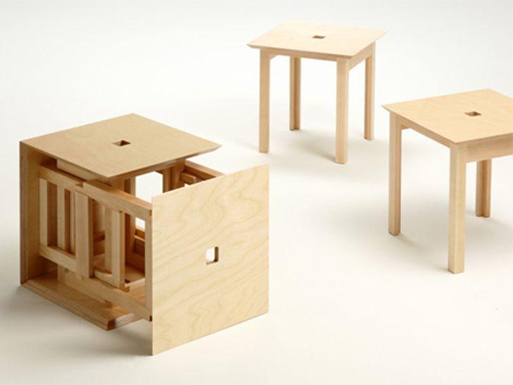 Cube 6: Naho Matsunou0027s Clever Wood Cube Transforms Into Six Individual  Stools Naho Matsuno_Cube6Stool U2013