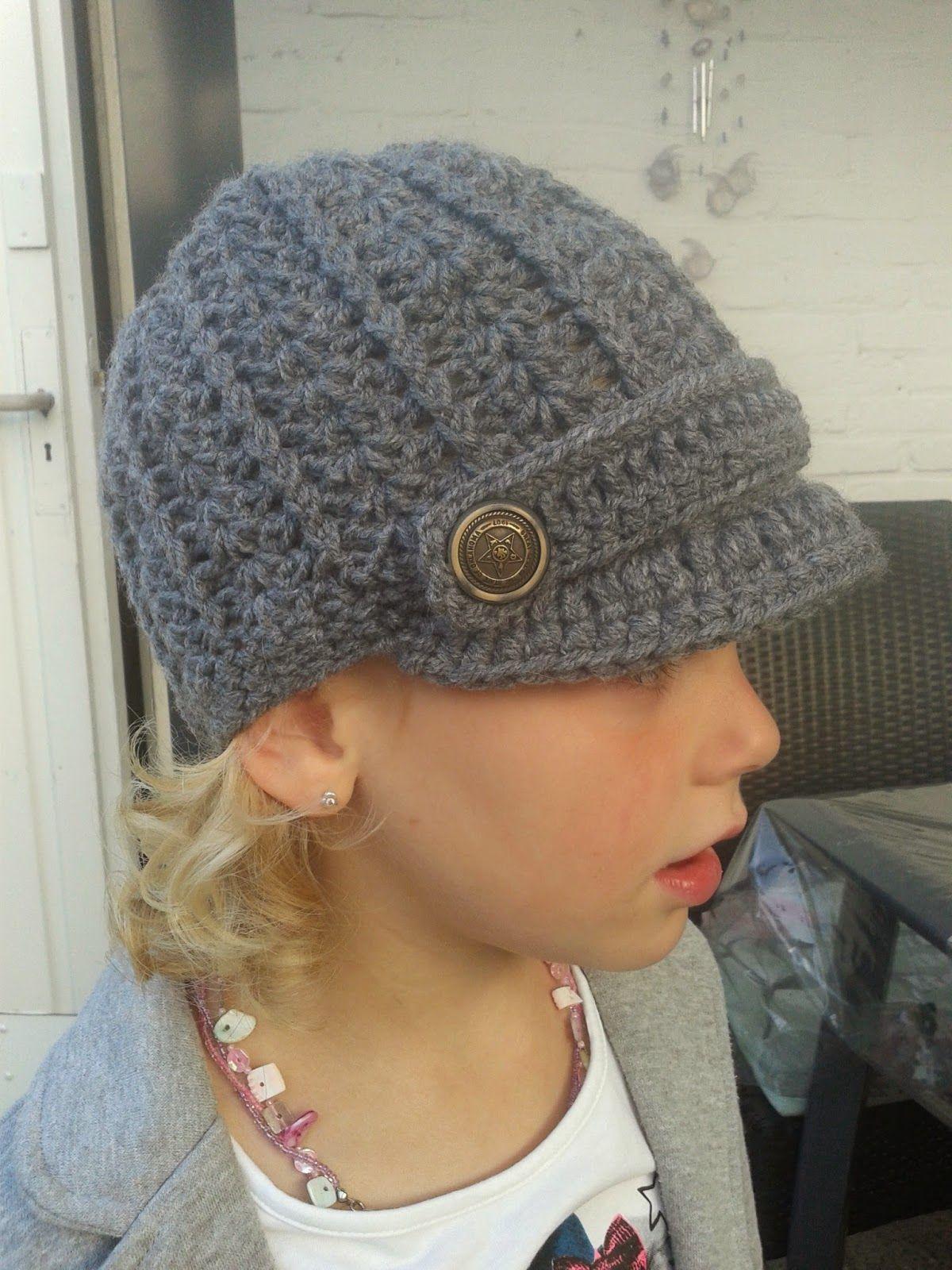 Gratis patroon van muts met klep / free pattern Newsboy Hat ...