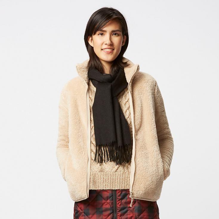 Women Fluffy Yarn Fleece Full Zip Jacket Uniqlo Outerwear