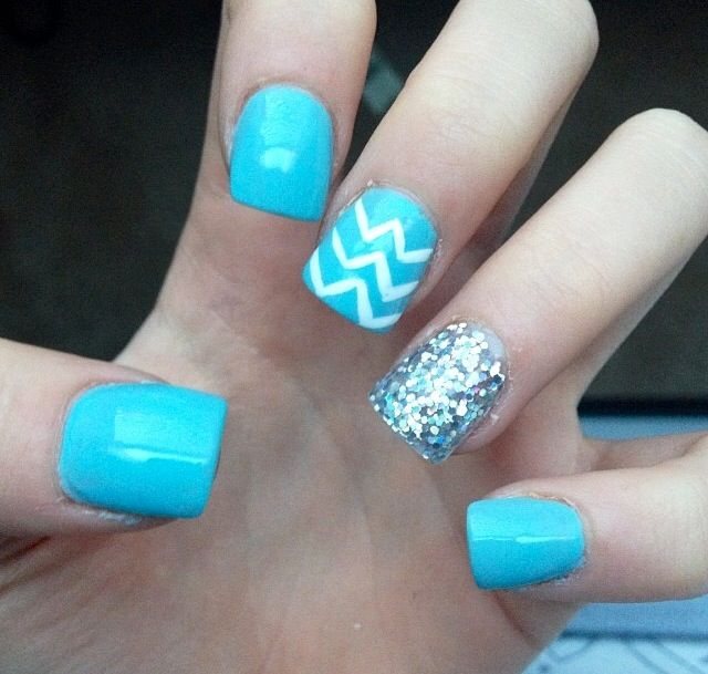Blue Nail Designs For Prom: Light Blue With Chevron And Sparkles Nails