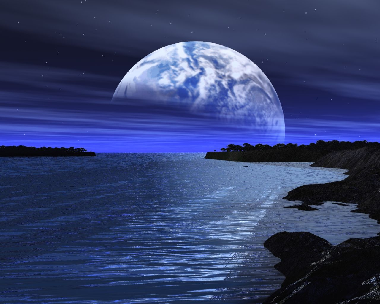 Desktop Hintergrundbilder 3d Beautiful moon, Moonscape