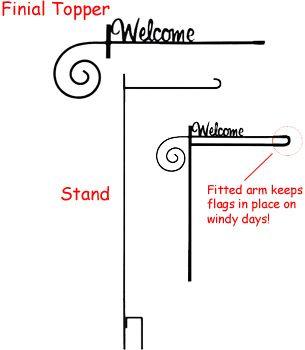 Welcome Finial Garden Flag Stand Garden Flag Stand Flag Stand Finials