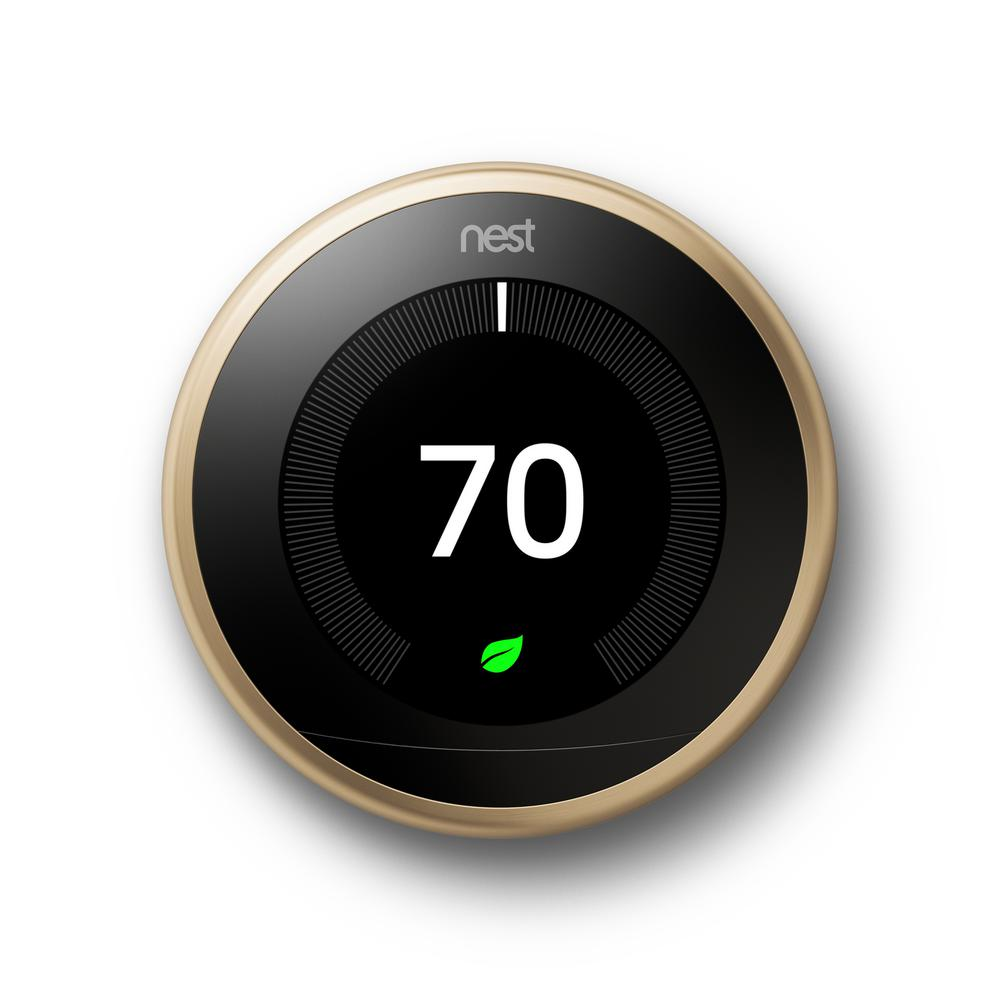 Google Nest Learning Thermostat 3rd Gen In Brass T3032us The Home Depot Nest Thermostat Nest Learning Nest Learning Thermostat