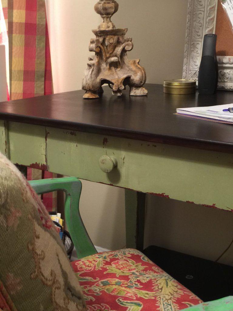 gel stained & milk paint desk - Lea Interiors