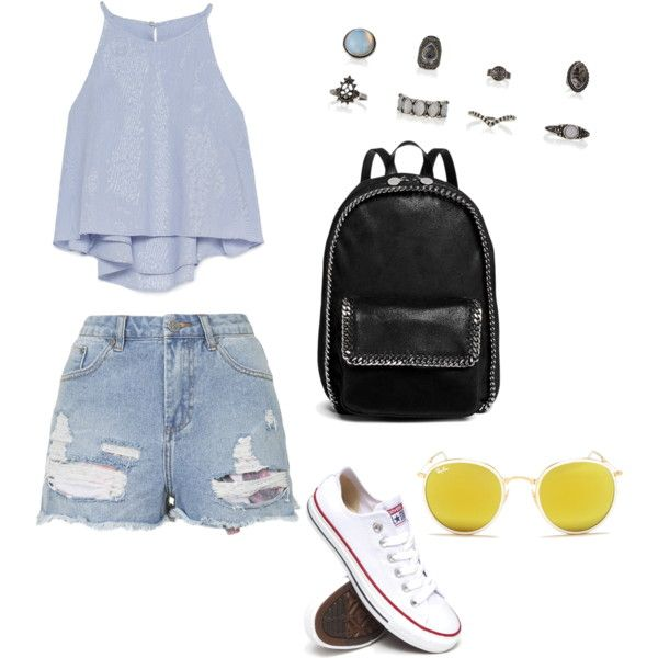Untitled #10 by n-abagnale on Polyvore featuring polyvore fashion style Zara Topshop Converse STELLA McCARTNEY Ray-Ban