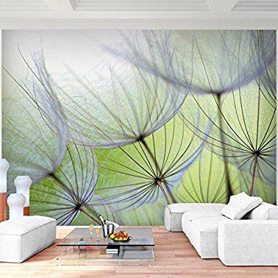 Fototapete Pusteblumen Grün 352 x 250 cm Vlies Wand Tapete