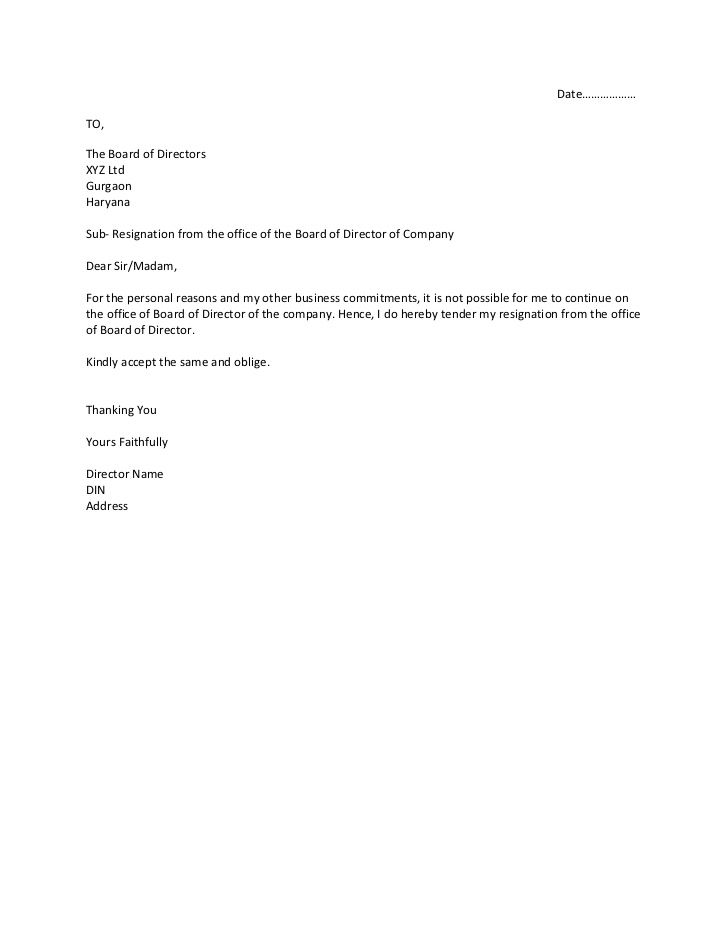 short letter of resignation board member resignation letter sample - Board Member Resignation Letter Sample