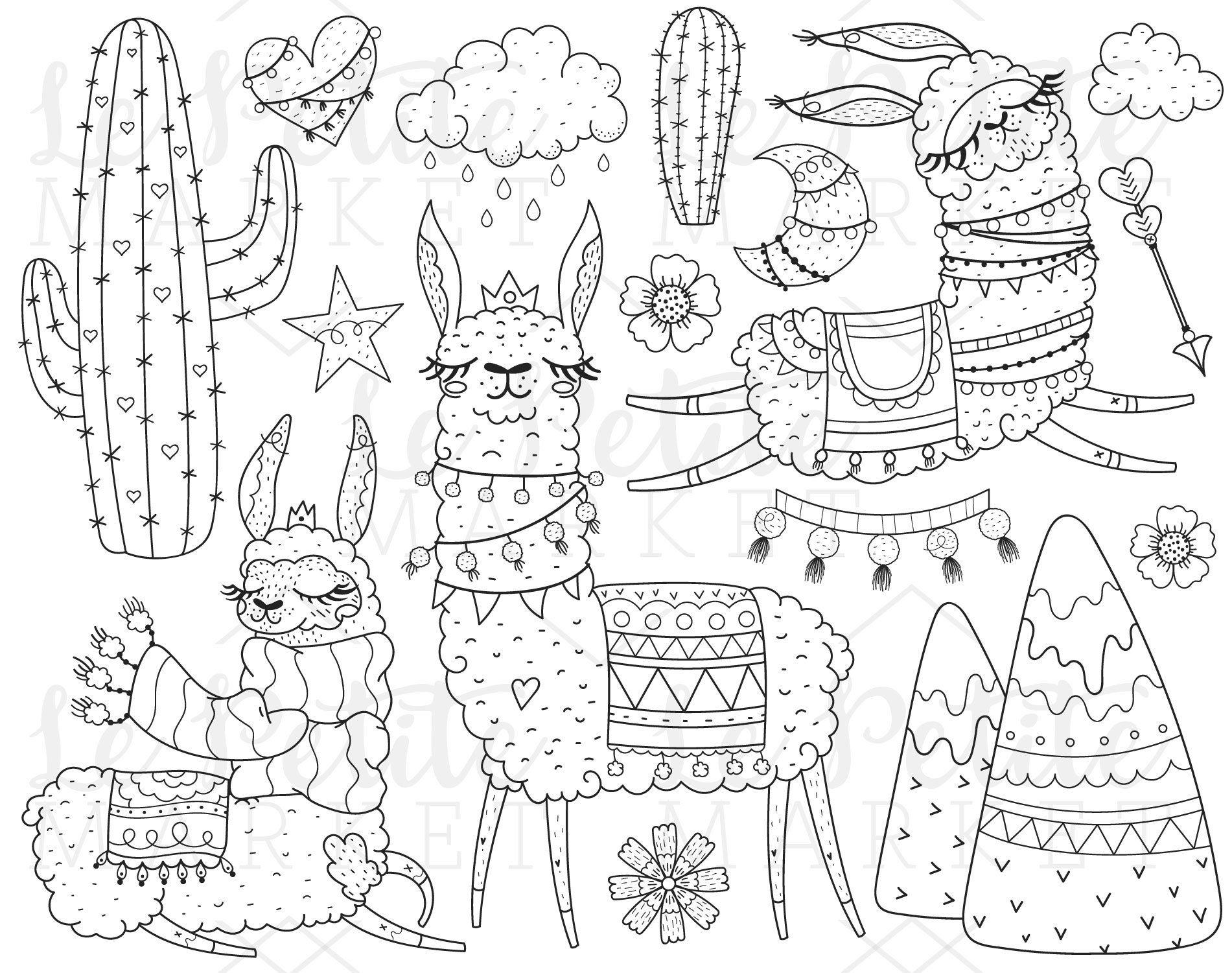Ensemble de Lama Clipart Illustration, Cute alpaga Clip ...
