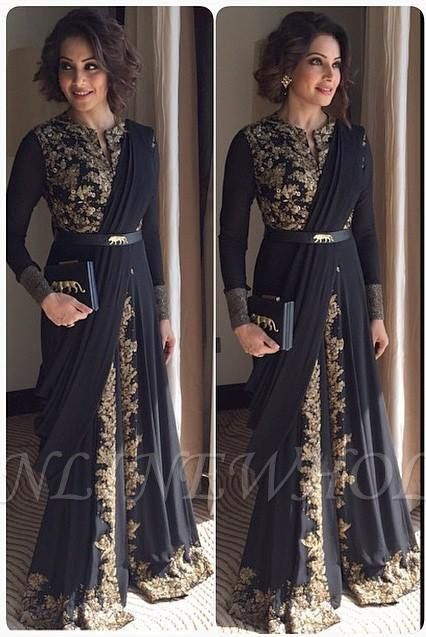 Arabic Muslim Evening Dresses Lace Sleeved Long Gold Indian