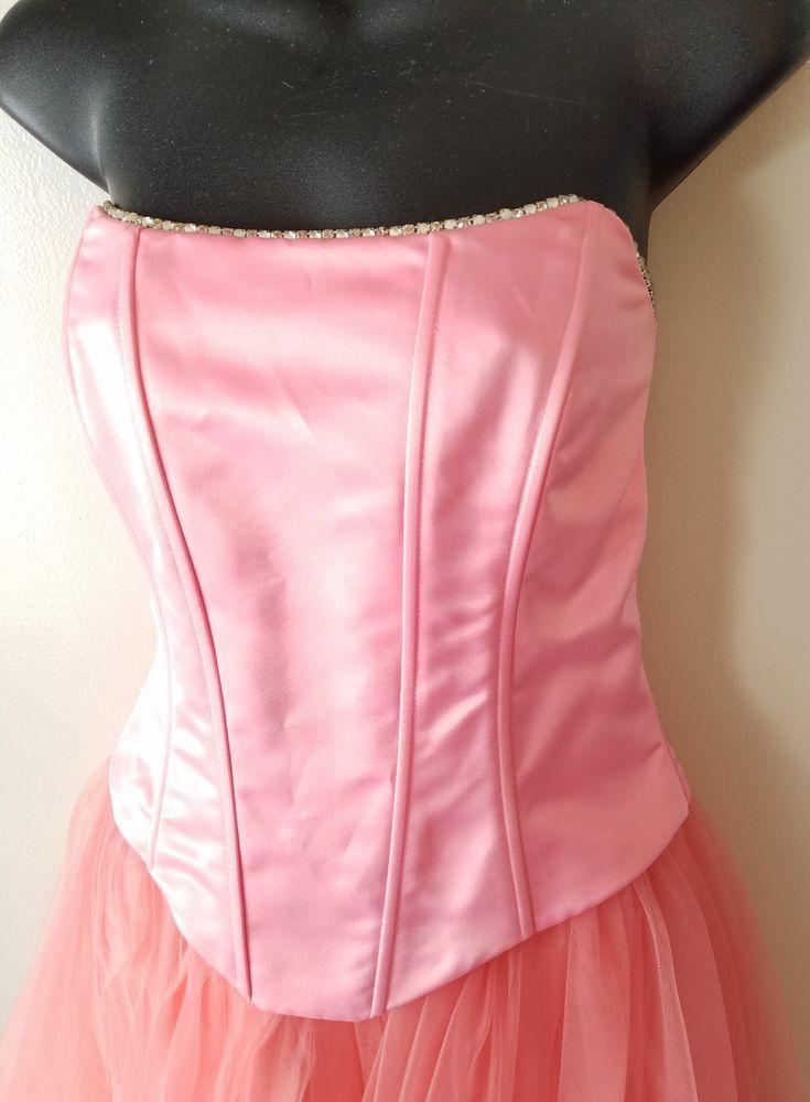 Jessica Mcclintock Gunne Sax Pink Prom Satin Tulle Rhinestones ...