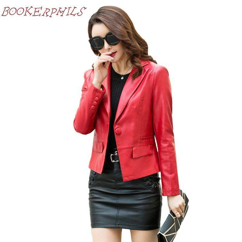 Lady Women Slim Casual PU Leather Sleeve Jacket Blazer Suit Short Coat Outwear
