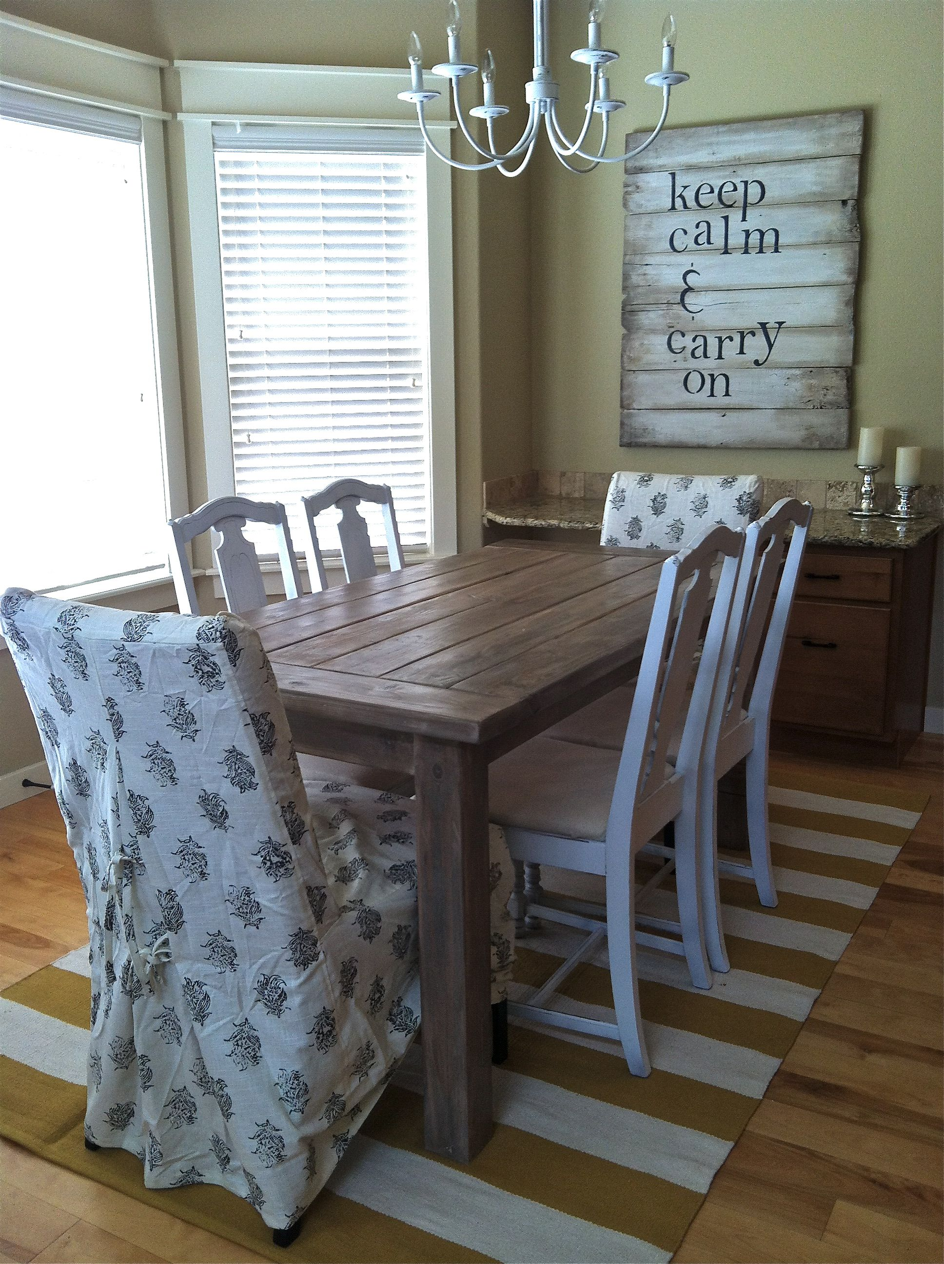 Refurbished Chairs Hand Made Table Old Fence Board Sign Chandelier Update And