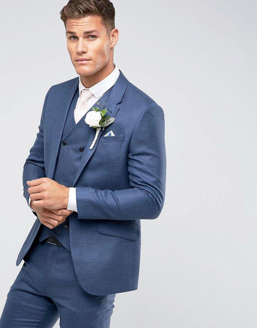 ASOS Wedding Slim Suit Jacket In Navy Silk Linen Mix - Navy ...