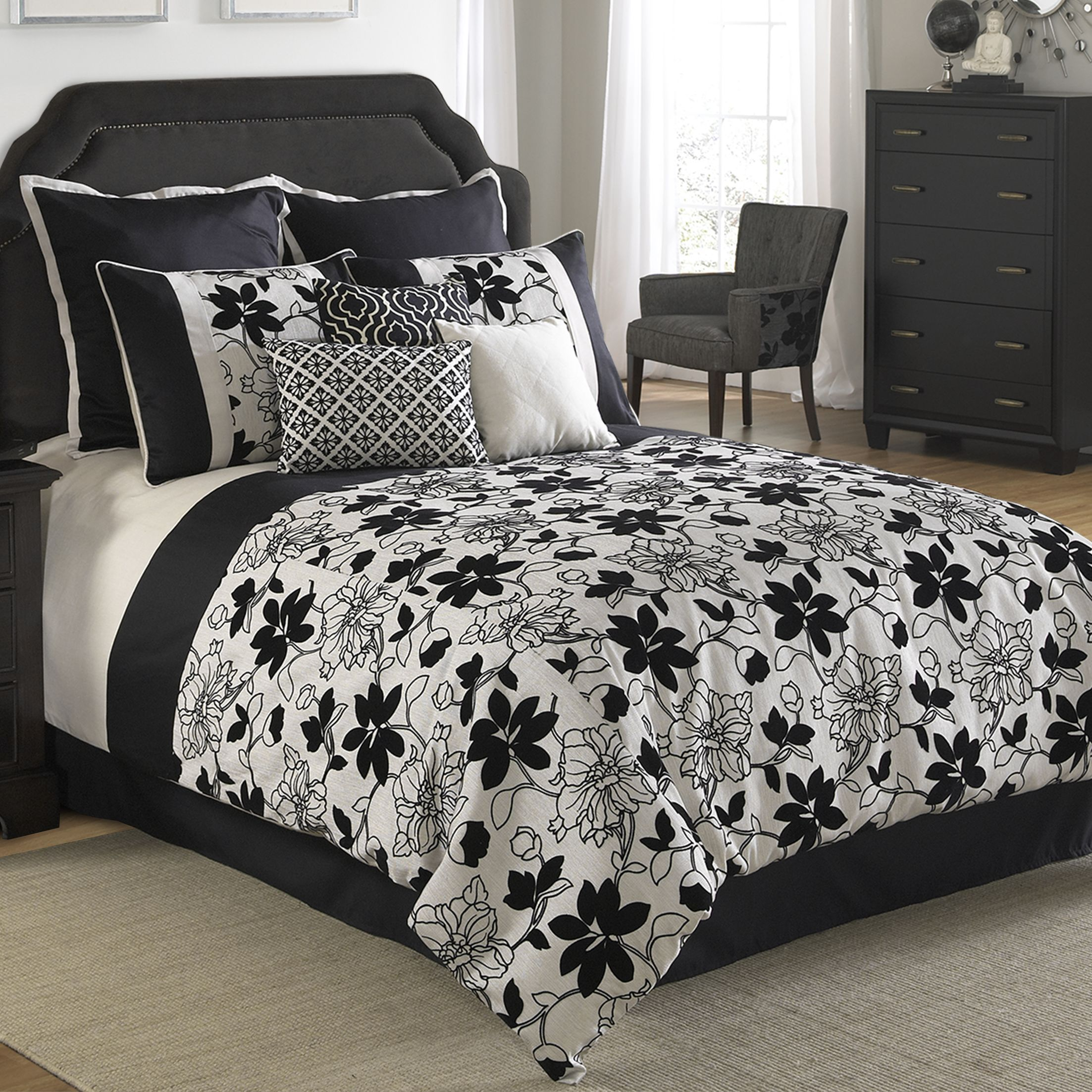 Ebony and Ivory Comforter Set Bedroom