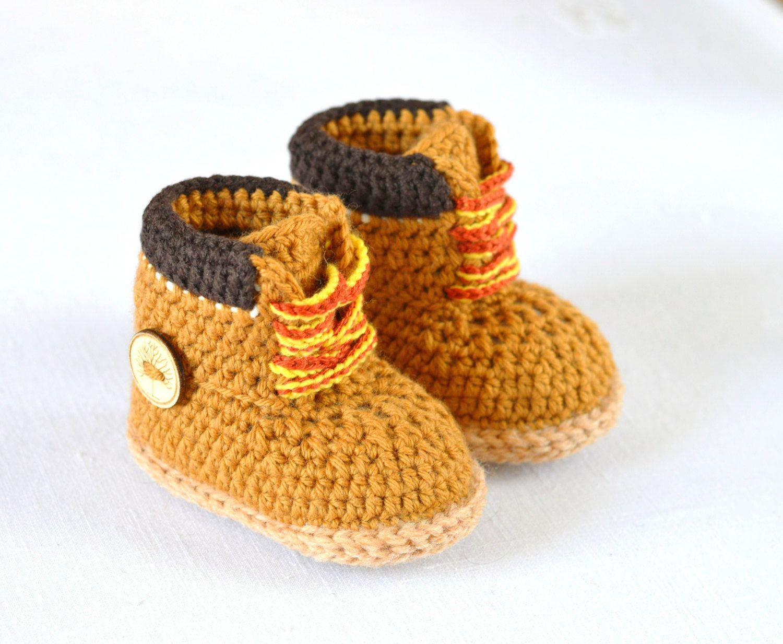 e3dbfc2eb4b09 Crochet Pattern Baby Timberland Style Booties Baby Workman Booties ...
