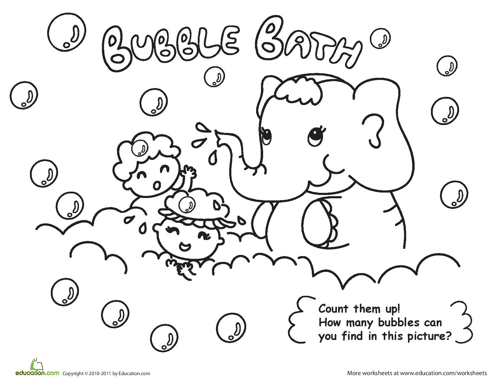 bubble bath coloring page count them up how many bubbles can