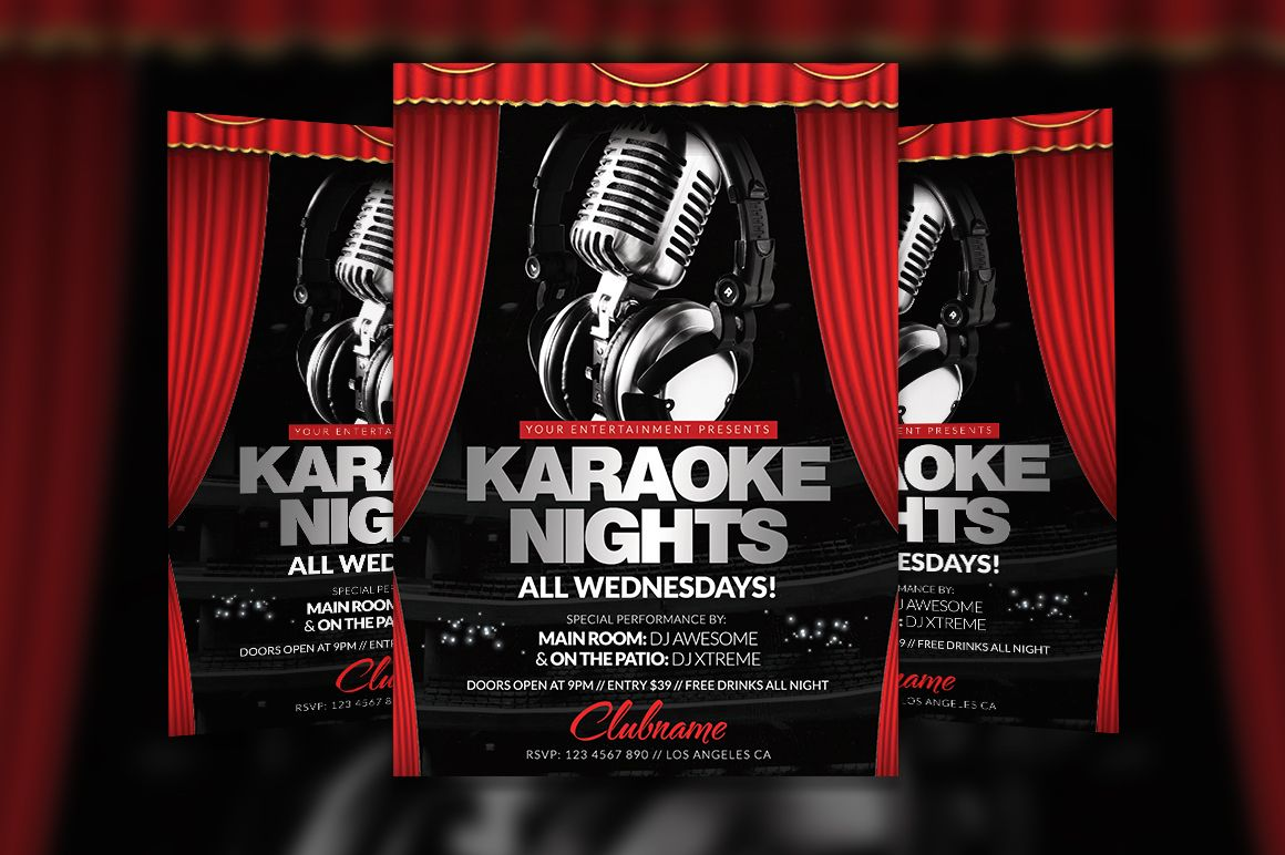 Attractive Karaoke Nights Flyer Template By Creative Waffle On Creative Market