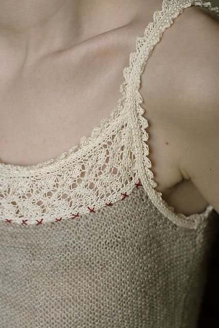 Ravelry: Lace-edged camisole pattern by Jennie Atkinson from the Interweave book A Handknit Romance