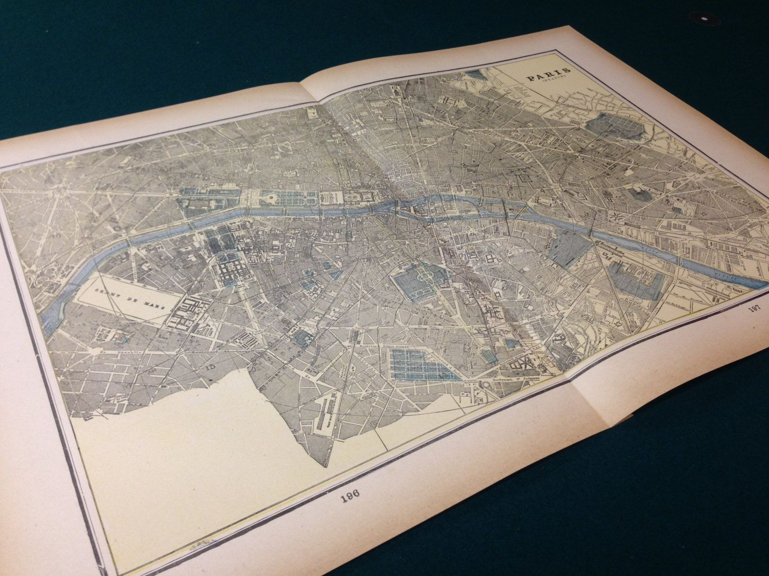 Antique map of Paris and Berlin Double