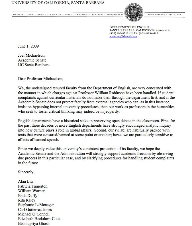 letter michaelson from english department ucsb committee how write - sample letter of support