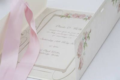 Vintage wedding invitations with a pink rose design for the vintage bride