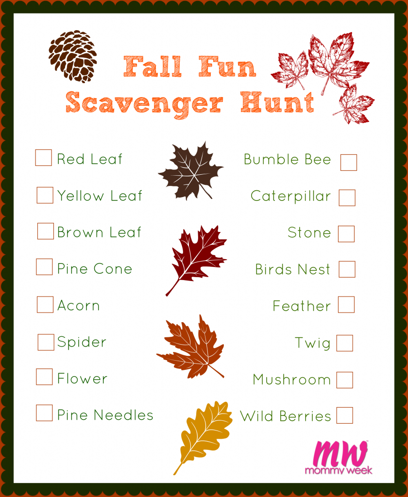Fall Fun Scavenger Hunt Nature scavenger hunts, Autumn