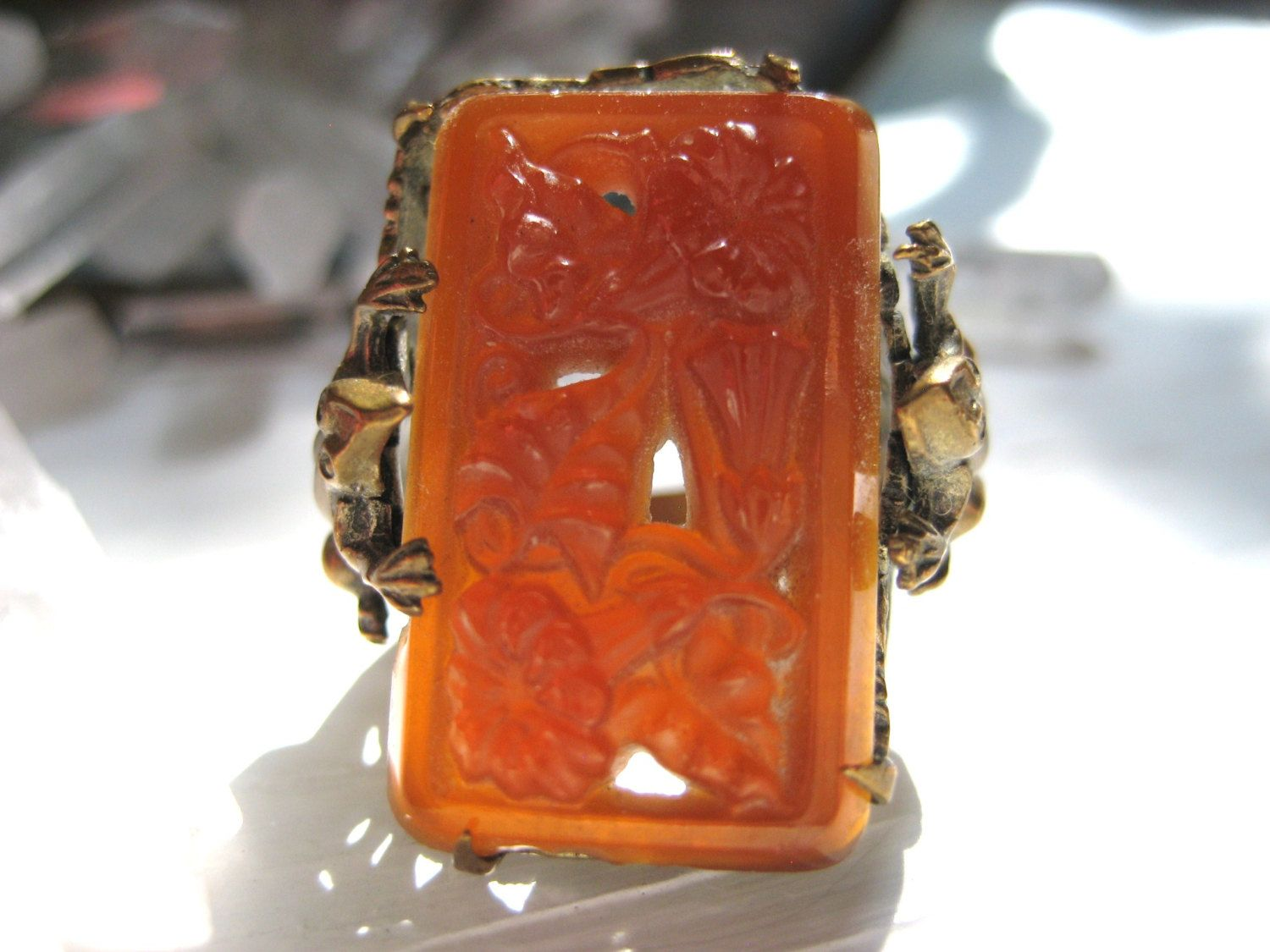 Vintage 1920's Art Deco Chinese brass Money Frog Pierced Carnelian Ring Sz. 6 by MysteryMisterAntique on Etsy