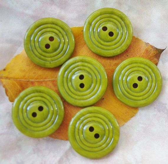 Vintage Unusued Buttons Art Deco 1940s Lime Green. by ButtonBroker, $9.00